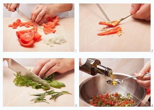 Making tomato salsa