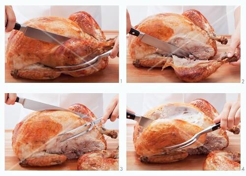 Carving a roast turkey