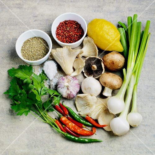 Ingredients for a mushroom dish