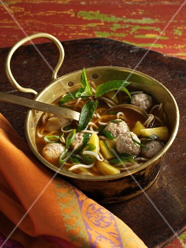 Vietnamese noodle soup with pork dumplings