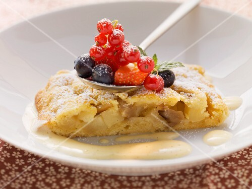 Tyrolean apple strudel with vanilla zabaglione
