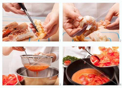 Preparing langoustine with tomatoes