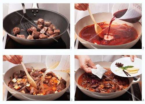 Preparing venison goulash