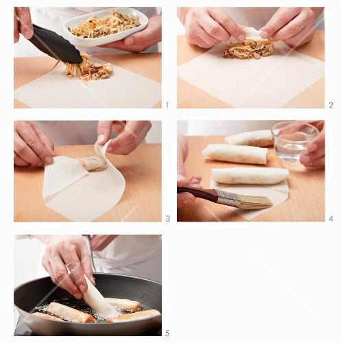 Spring rolls being prepared