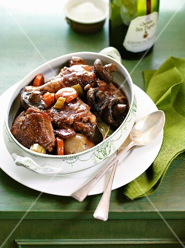 Coq au vin in a baking dish