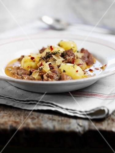 Lamb stew and new potatoes