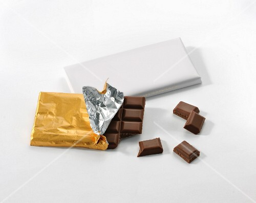 A bar of milk chocolate in silver foil