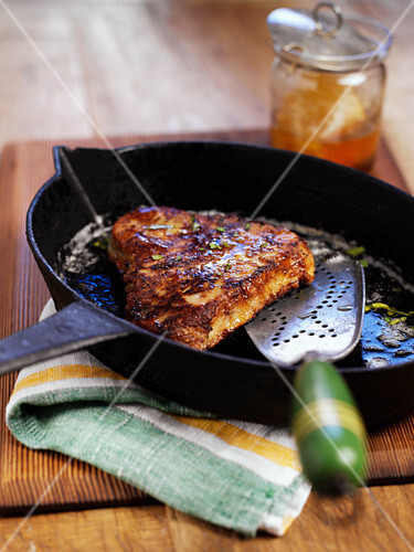 Fried, honey-glazed tuna steak