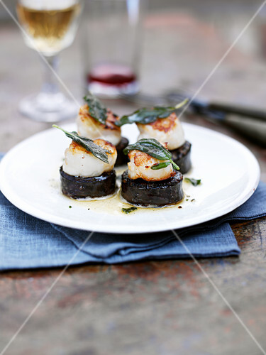 Scallops with sage on black pudding