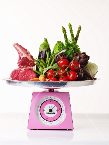 Food for a balanced diet on a kitchen scale