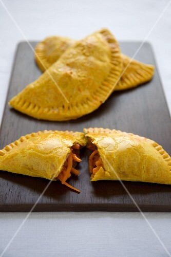 Jamaican Filled Pastries; One Halved