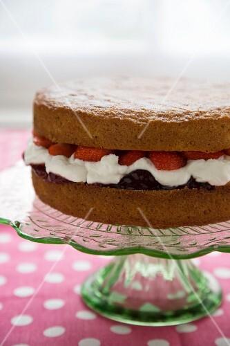 Victoria Sponge Cake on a Cake Plate