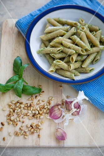 Whole Wheat Penne Pasta with Pesto Sauce; Fresh Ingredients