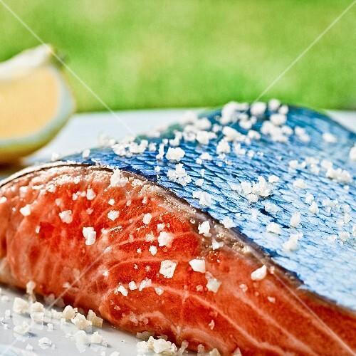 Salmon with salt (close up)