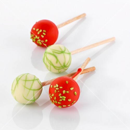 Cake Pops; Chocolate with Nuts Close Up