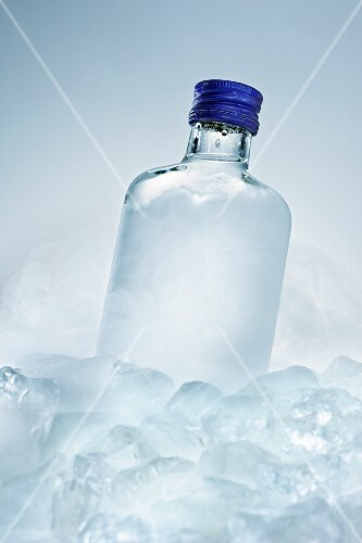 Vodka bottle between ice cubes