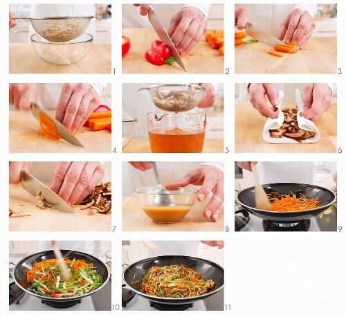 Preparing stir-fried vegetables