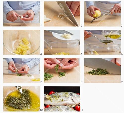 Dorade mit Zitronen-Kräuter-Marinade bepinseln