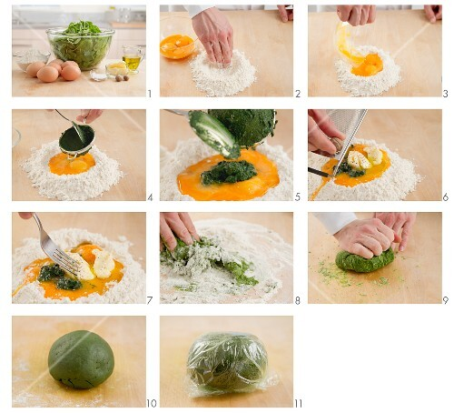 Coloring noodle dough with spinach
