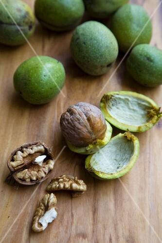 Fresh Walnuts; Cracked Open