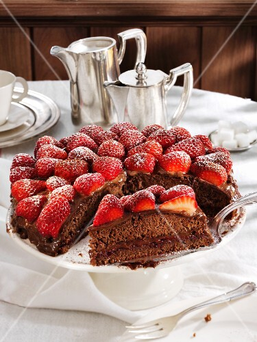 Chocolate and strawberry cake