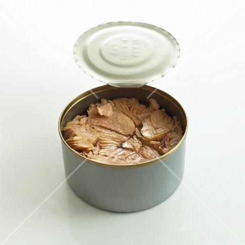 Tuna in opened tin