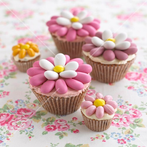 Easter cupcakes decorated with sugared almonds