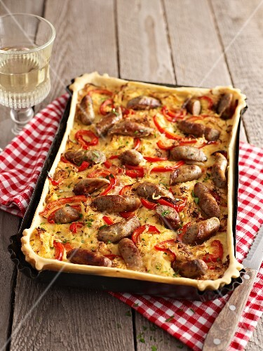 Nuremburg quiche with sausages and peppers