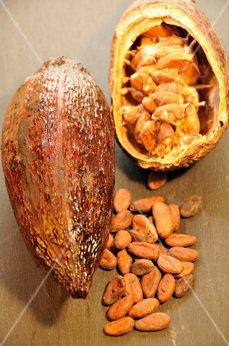 A cacao fruit and cocoa beans