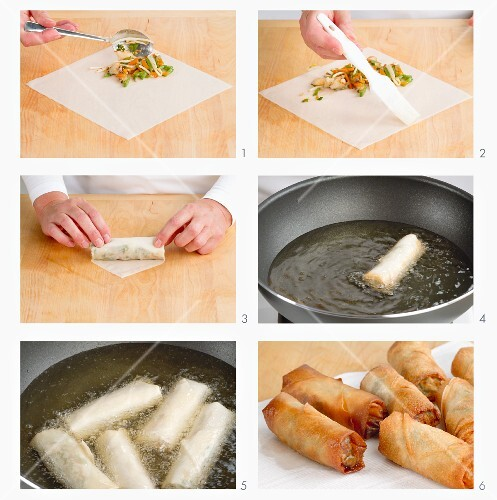 Spring roll sheets being filled and fried
