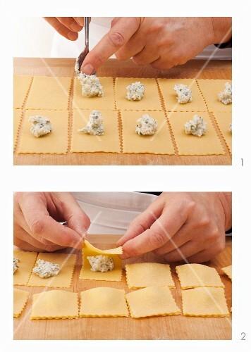 Square ravioli being made