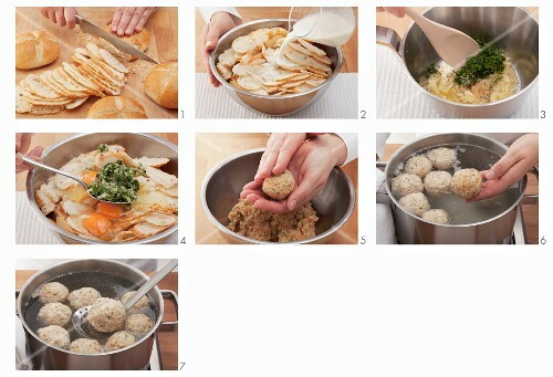 Bread dumplings being made