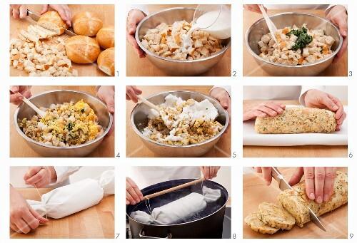 Napkin dumplings being made