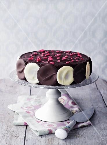Chocolate cake on cake stand