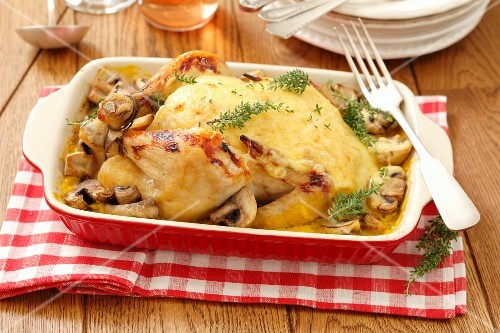 Roast chicken topped with cheese