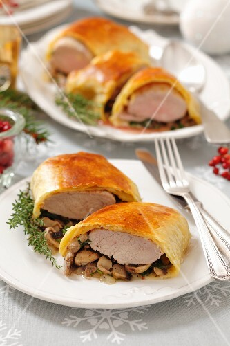 Pork fillet with mushrooms wrapped in strudel dough