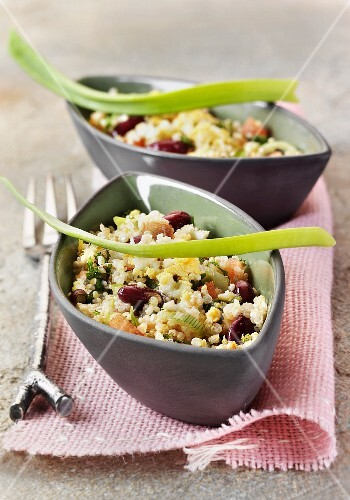 Quinoa salad with vegetables and egg