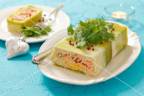Salmon and mango terrine wrapped in leek for Christmas