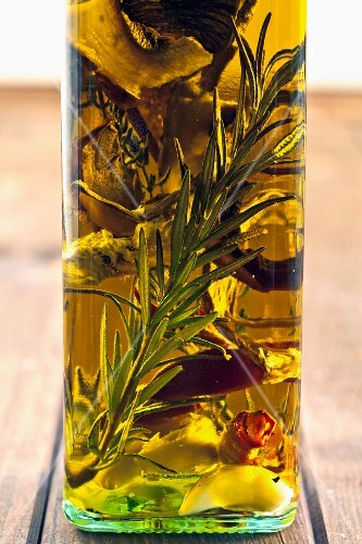 Porcini mushroom oil with herbs and rosemary