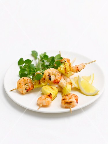 Prawn and pineapple kebabs