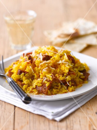 Saffron risotto with pork
