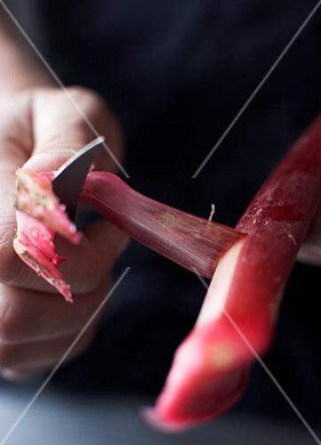Peeling rhubarb