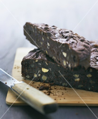 Chocolate cake with nuts and pistachios