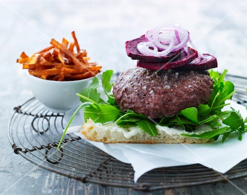 Unleavened bread with a burger and beetroot