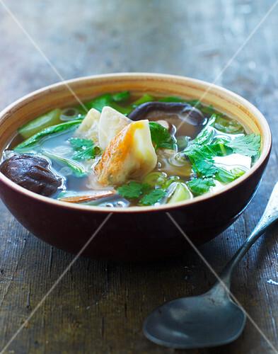 Asian mushroom soup with tofu