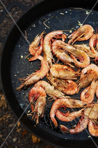 Deep Water Gulf Prawns Sauteing in a Cast Iron Skillet; Outside