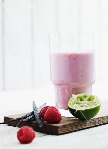 Raspberry and coconut milk smoothie