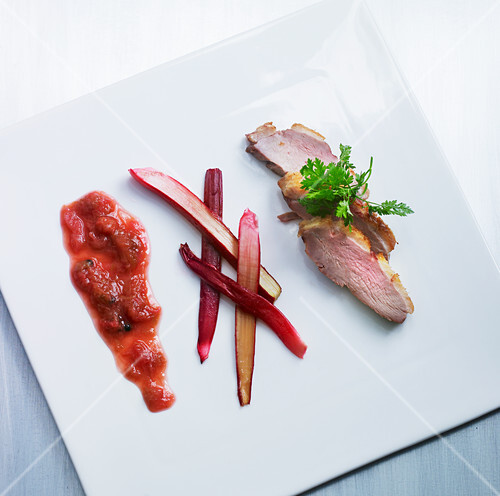 Duck breast with rhubarb