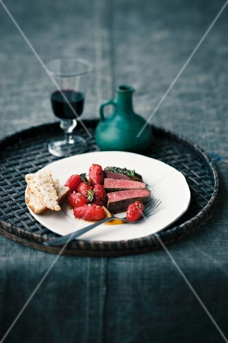 Flank steak with tomato confit