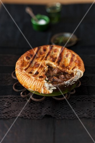 Veal pie, sliced